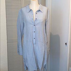 Halston Chambray Blue Linen Shirtdress 4 6 Medium